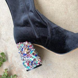 6c2e07c2173 Betsey Johnson Shoes - Betsey Johnson Velvet Knee High OTK Sock Boots